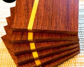 Bubinga hardwood coasters 6 pack