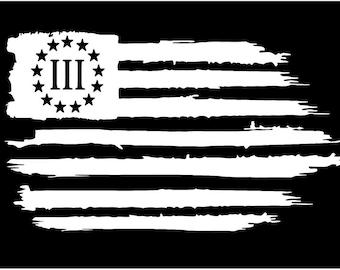American patriot AP 3 Three Percent flag vinyl die cut sticker decal