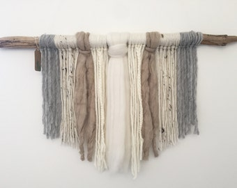 Neutral Wall Hanging on Driftwood