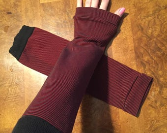 Trixy Xchange - Red Striped Arm Warmers Red Gloves Black Armwarmers Long Black Sleeves Red Striped Knee Socks Cosplay Gloves Grunge Style