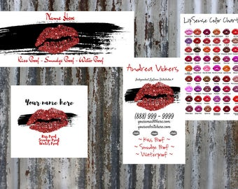 LipSense Red Lip Packet - Includes Lip Color Independent Distributor Business Card w/ Color Chart, Matching  Facebook Header & Profile Pic