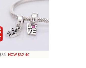 Sale -  Pandora Disney Mickey Minnie Love Charm Bead Dangle Gift for Her