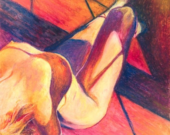 Shadows on Fire - Sensual Fine Art Prints @ 11x14 from Oil Pastel Original Drawing