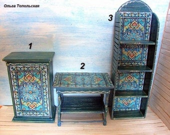 Cupboard. Table. Whatnot. Dollhouse furniture. Scale 1:12