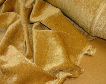 Heavyweight Luxury Plain Bright Gold Chenille Velvet Fabric Upholstery Weight