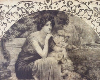 Vintage framed picture of beautiful lady