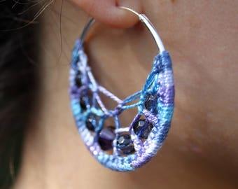 Crochet Hoop Earrings with Beads in Blue & Purple