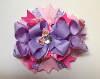Boutique Stacker Style Bow on French Barrette princess theme
