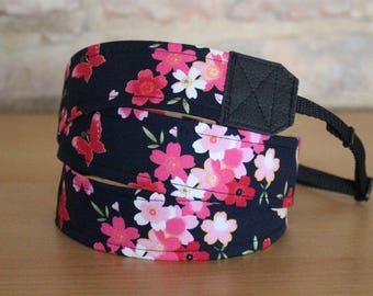Butterflies on flowers, camera strap, belt, black, black, DSLR, camera strap, camera strap