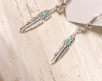Feather earrings - Silver earrings - Dangle earrings - Turquoise earrings - Boho jewelry - Feather jewelry - Gift idea - Boho Chic