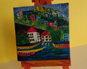Handmade acrilic painting on mini canvas (6.5cmx6.5cm/2.6inx2.6in),,with custom made,painted (6.5x12.5cm/2.6inx4.9in) tripod included.
