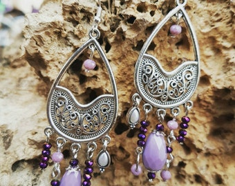 Non-allergic metal earrings with pale mauve and dark purple glass beads