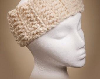 Crocheted Ivory Ear Warmer