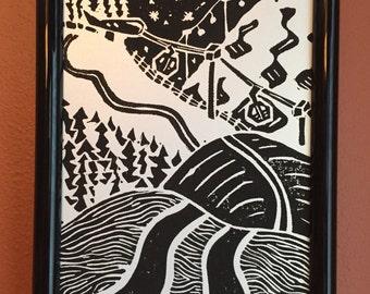 Happy Trails - 5X7 Framed Linocut Block Print