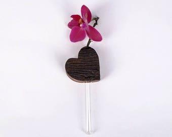 Refrigerator vase, magnetic vase, Oak heart, heart shape