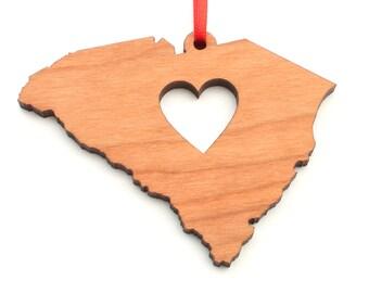 Heart South Carolina Christmas Ornament - SC State Shape Ornament with Christmas Heart Cutout - South Carolina Ornament by Heart State Shop