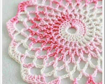 "Pinterest but I can make it the same. It's about 5"". But I can make larger doilies or smaller ones. 5 doilies for 5 dollars. PICK UP"