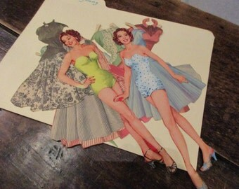 Original Loretta Young Vintage 1950's Paper Dolls, 2 dolls and 10 outfits