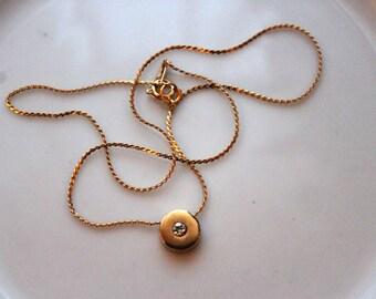 Gold Tone Cz Pendant Necklace