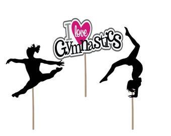 Gymnastics Cupcake Topper, Gymnastics Birthday cupcake topper, gymnastics picks, gymnastics cake topper, gymnastics, birthday cupcake topper