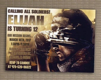 Call Of Duty Invitation, You Print Invitation, Call Of Duty Birthday, Call Of Duty Themed Invitation, Call Of Duty Birthday Party Invite