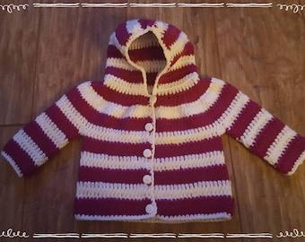Crochet stripped hooded jacket