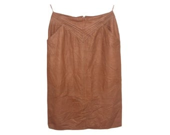 Vintage Giorgio Mobiant ® women skirt real leather brown