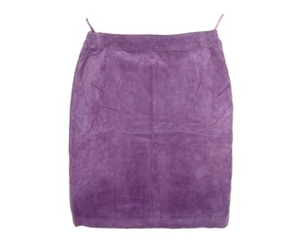 Vintage women skirt suede real leather violet