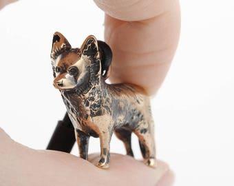 Vakkancs Mudi minisculpture keychain (3D solid bronze)