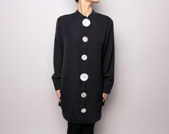 Oyster Shell Button Shirt Dress