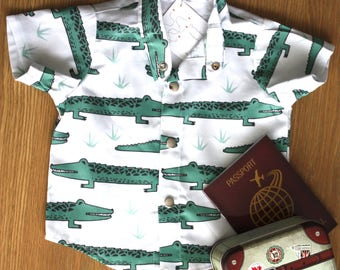 Baby boy's shirt, crocodile print