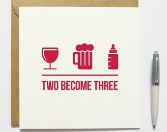 New Baby Two Become Three Card