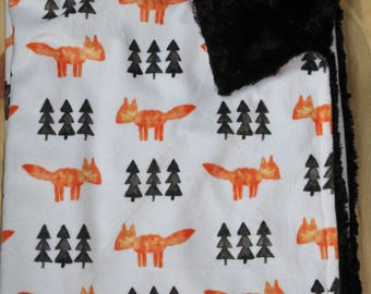 Woodland Fox Baby Blanket- Rustic Baby Blanket- Watercolor Fox- Minky Baby Blanket- Baby Shower Gift