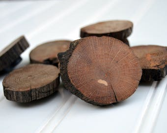 Natural Wood Refrigerator Magnets | Wood Office Magnets | Hickory Wood Slice Magnets