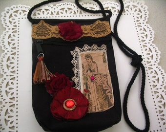 Embellished Canvas Altered Handbag Zipper Pouch Victorian Style Accessory Bag Shabby Chic Collection