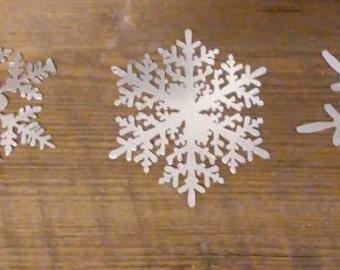 "3 Piece Set 6"" Metal Snowflake Ornament Christmas Decoration Tree"
