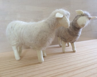 Felt and Icelandic Wool ~machine sewn and hand felted stuffed  sheep