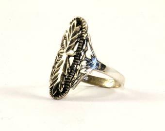 Vintage Scroll Design Ring 925 Sterling Silver RG1640
