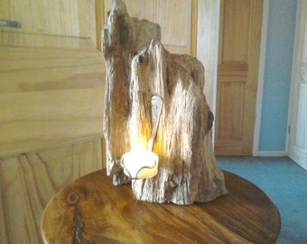 Upcycled cutlery driftwood candle holder