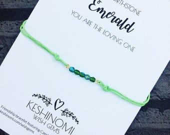 Birthstone bracelet, May birthstone, wish bracelet, friendship bracelet, birthday gift ideas, gift for her, Emerald style, personalised gift