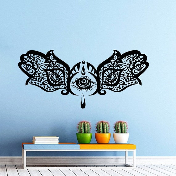 Vinyl Wall Decal - Hand Buddha Quotes Namaste Wall Decals Yoga Mandala Wall Stickers For Living Rooms Home Decor Yoga Art Mural Decoration