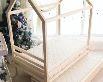 190×90,80,70, house bed, tent bed, wooden house, wood house, wood nursery, teepee bed, wood house bed, wood bed frame, kids bedroom