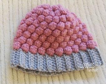 Handmade Crochet Newborn Baby Hat, Crochet Hat, Pink Grey Baby Hat, New Baby Gift, First Hat