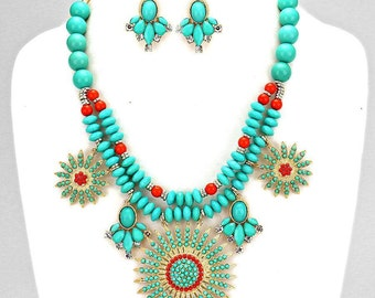 Multicolored Medallion Pendant Necklace and Earring Set