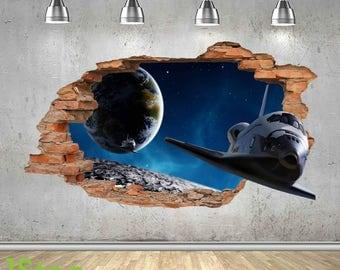 Space Shuttle Wall Sticker 3d Look   Moon Planet Galaxy Stars Boys Bedroom  Z435 Part 94