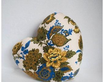 Heart Pillow | floral print | Vintage Pillow | Wedding Gift | Housewarming Gift | Handmade