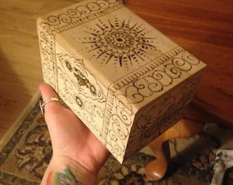 Woodburned Jewlery Box