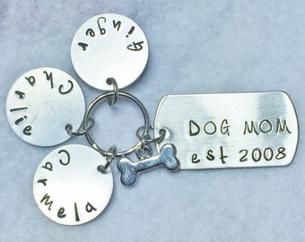 SALE - Dog Mom Keychain w/ pet names - Dog Mom - Hand Stamped - Dog Lover - Gift For Her - Dogs - Dog Keychain - Dog Mom Gift - Love - Dog