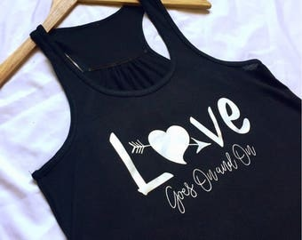Love Goes On and On Tank / Robin Hood / Disney Tank Top / Women's Disney Tank Top  / Love Song / Disney Gift / Gift Under 30 / Tank Top
