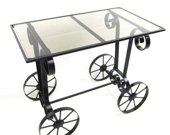 Wrought Iron Coffee Table With Glass Top - Free Shipping